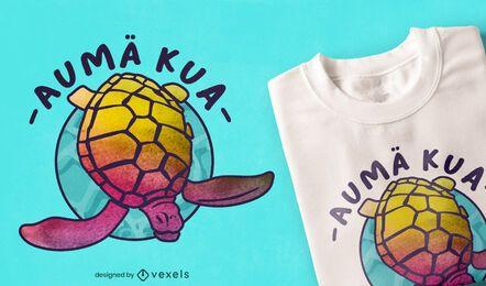 Diseño de camiseta con efecto tie dye hawaiano de tortuga
