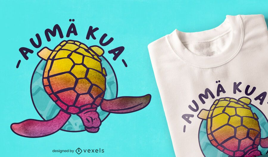 Turtle hawaiian tie dye t-shirt design