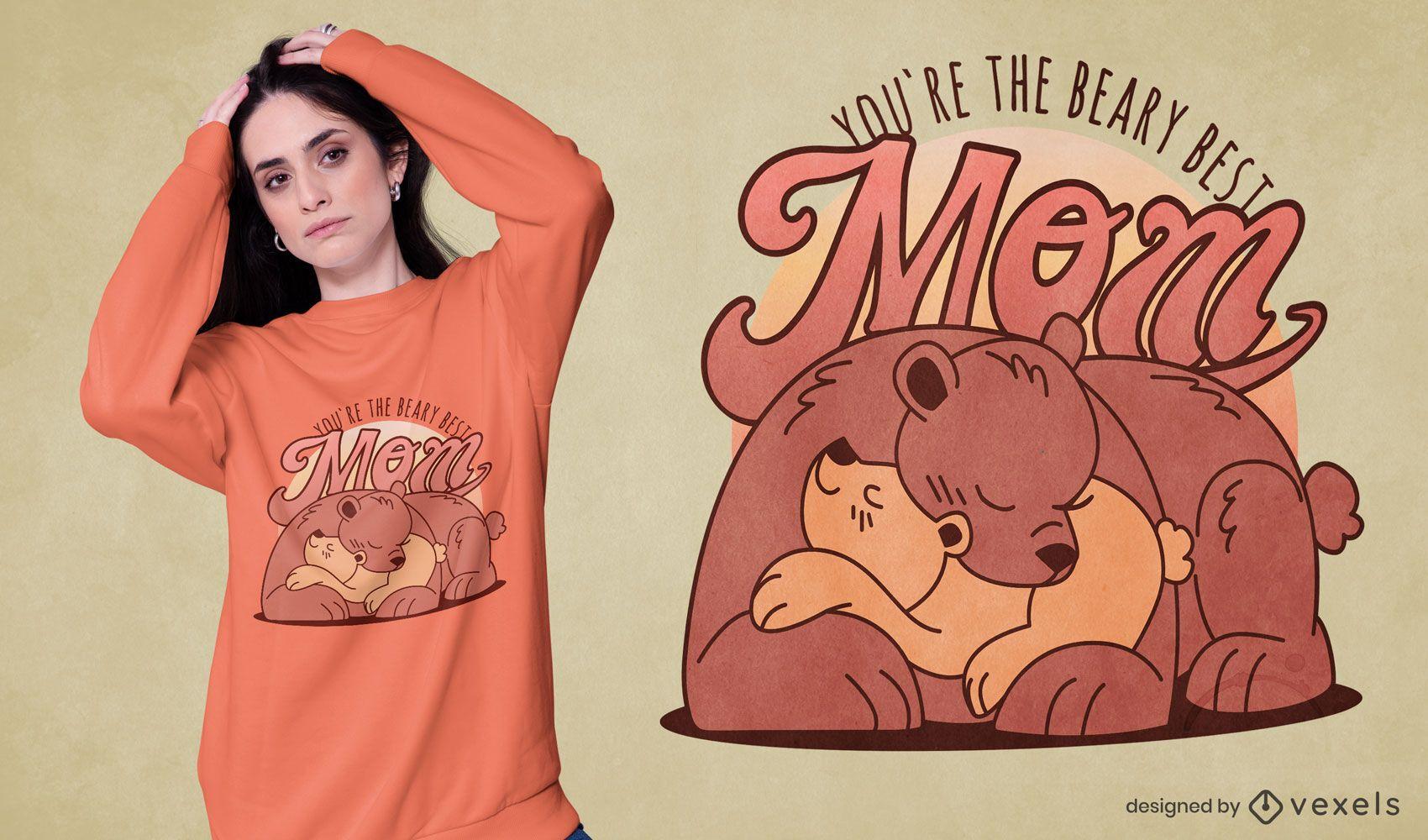 O melhor design de t-shirt da família para a mãe do urso