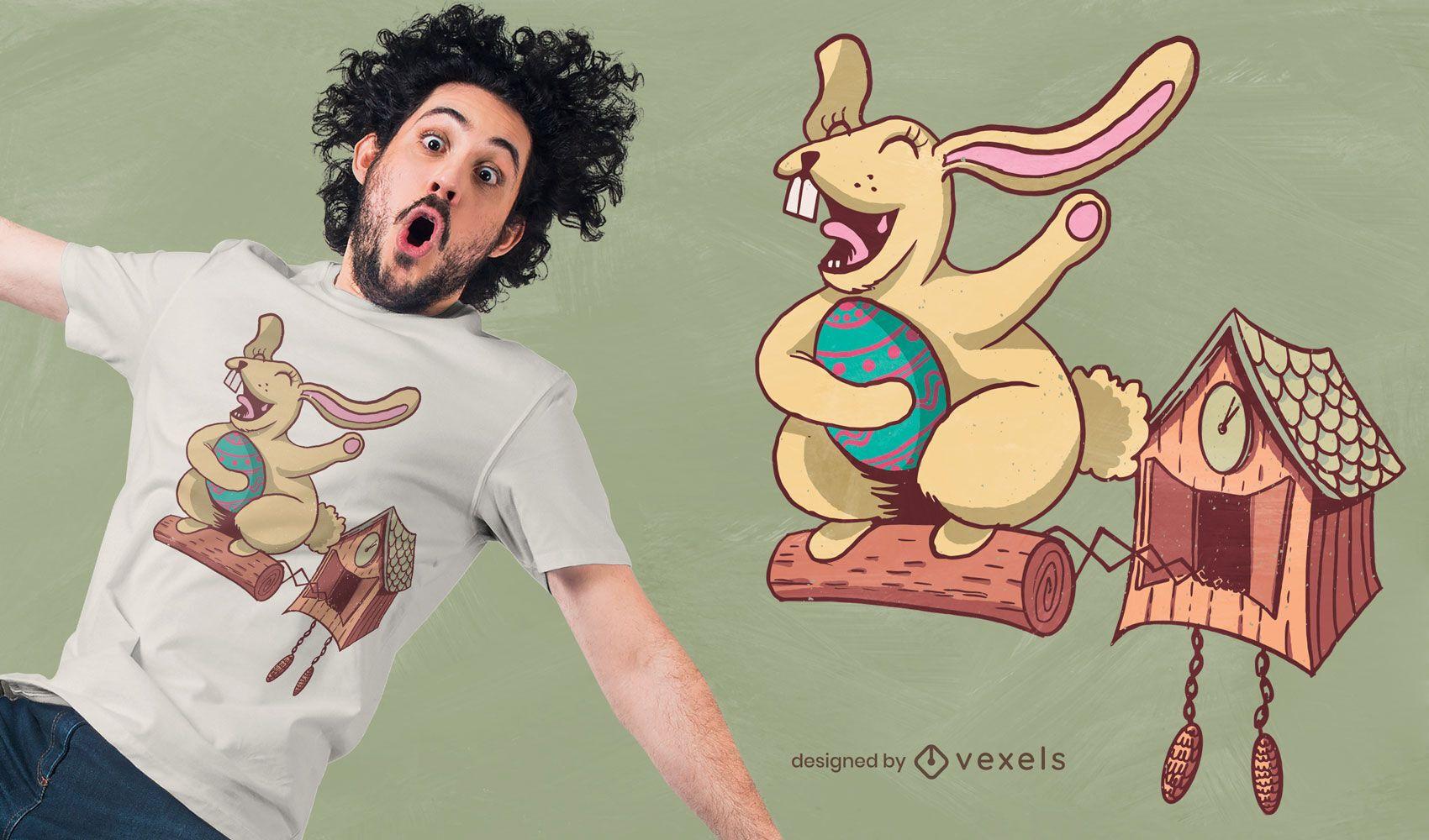 Design de t-shirt relógio cuco coelhinho da Páscoa