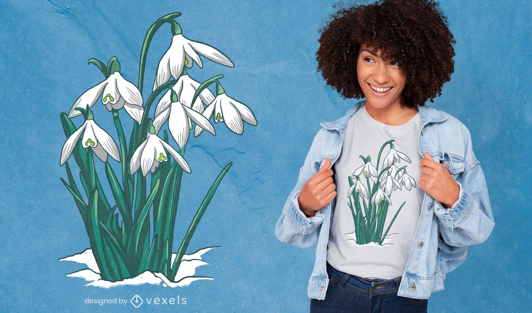 Design de t-shirt da natureza da flor snowdrop