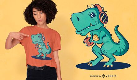 Diseño de camiseta t-rex gamer