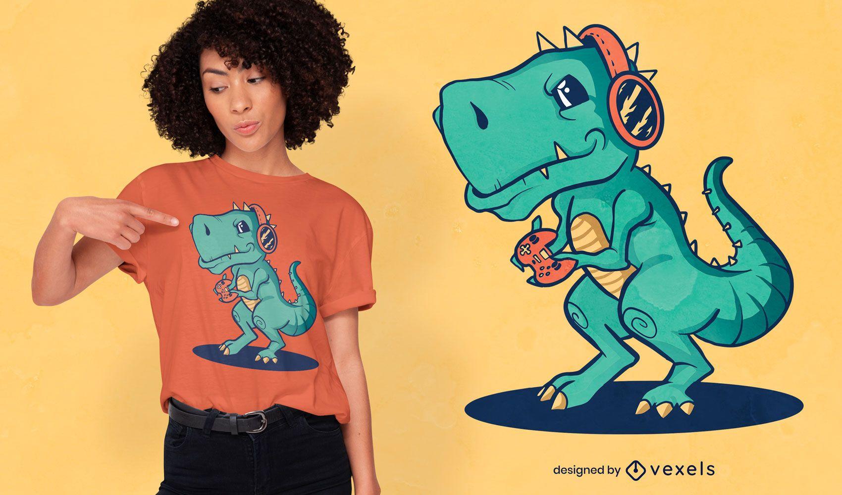 T-rex gamer t-shirt design