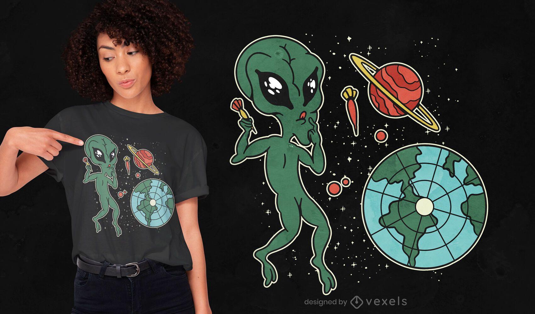 Alien cartoon dart game t-shirt design
