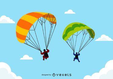Parapentes em tandem em voo