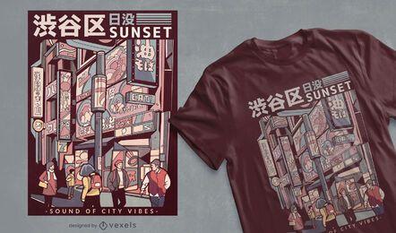 Japanisches Straßen-T-Shirt Design