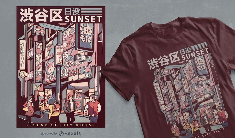 Diseño de camiseta de calle japonesa
