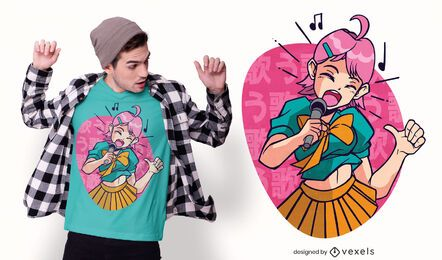 Diseño de camiseta de chica anime cantando