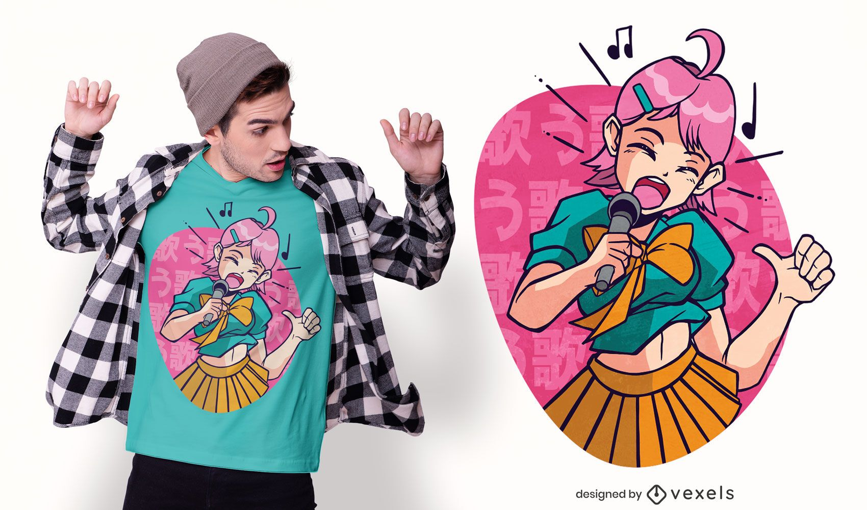 Anime girl singing t-shirt design