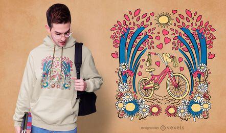 Diseño de camiseta de bicicleta floral.