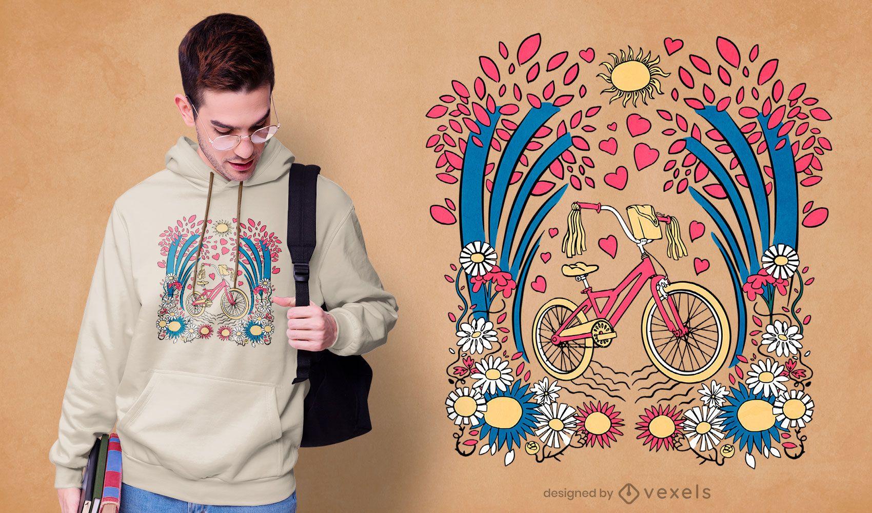 Blumen Fahrrad T-Shirt Design
