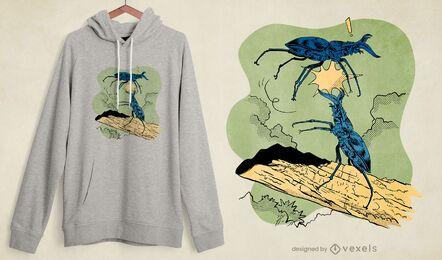 Diseño de camiseta de lucha de escarabajo de ciervo