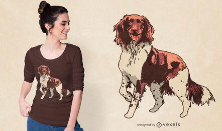 Diseño de camiseta de perro peludo amigable.