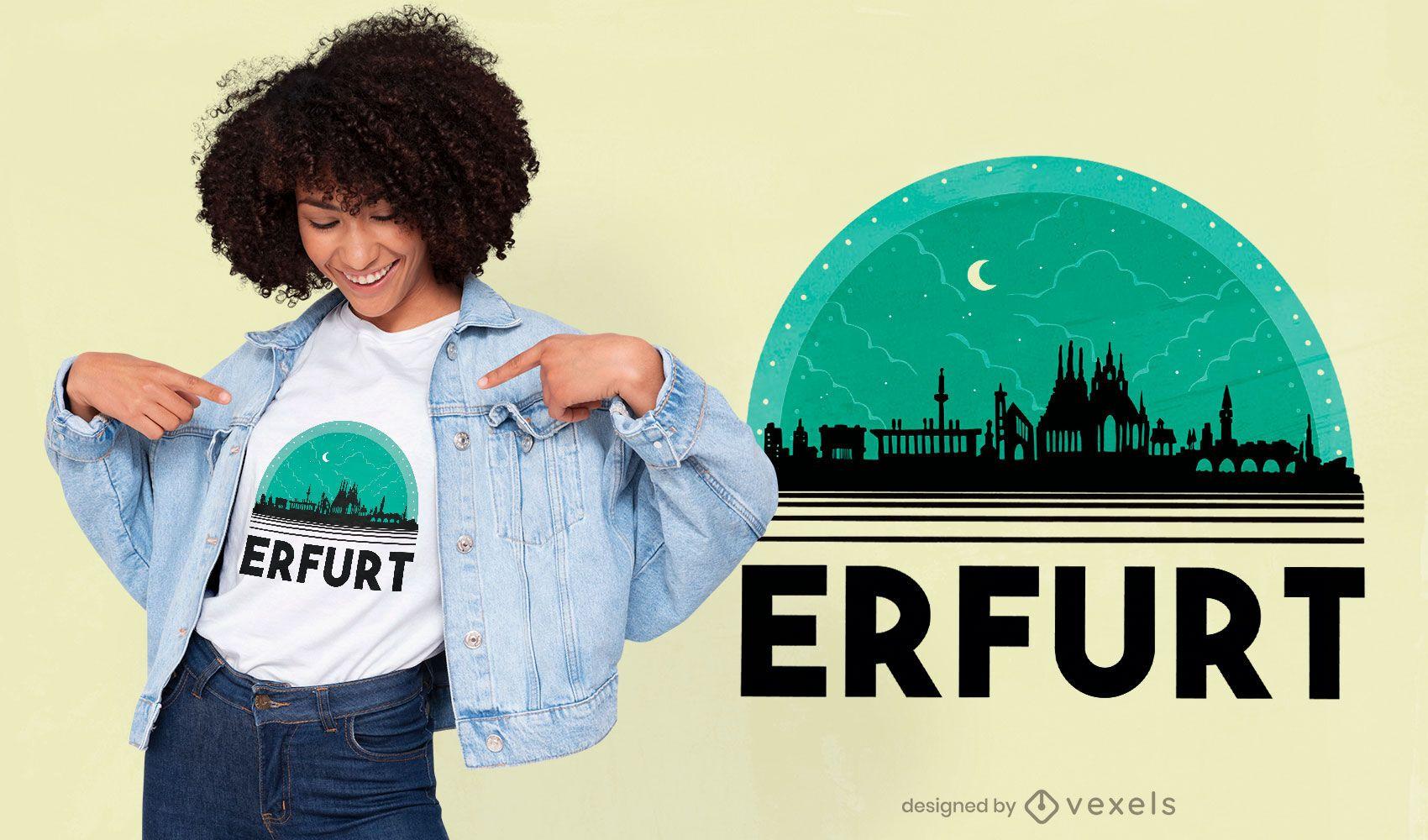 Erfurt Germany night skyline t-shirt design