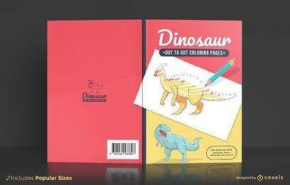 Diseño de portada de libro de colorear de punto a punto de dinosaurio