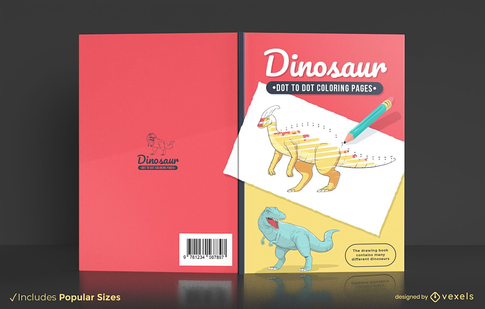 Dinosaur dot to dot coloring book cover design