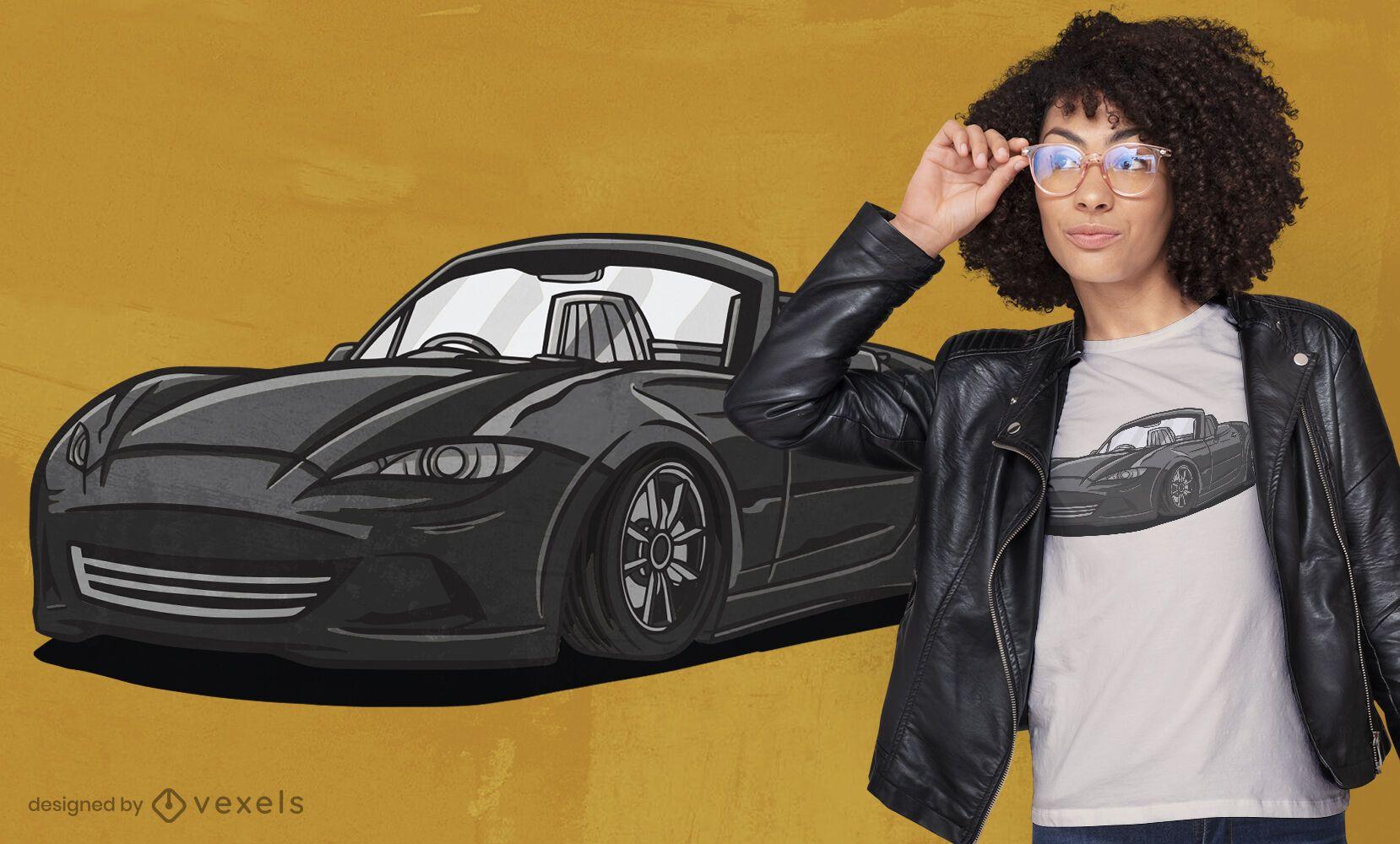 Elegant sports car in black t-shirt design