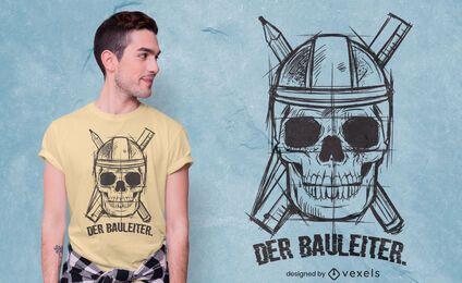 Diseño de camiseta de dibujo de calavera de construcción