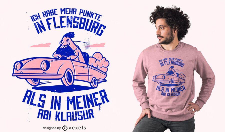 Diseño de camiseta de cita alemana de coche rápido.
