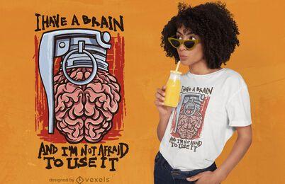 Design de t-shirt com citação de paródia de granada cerebral