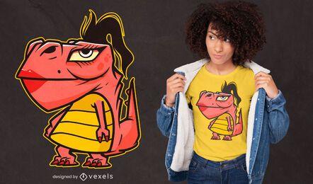 Diseño de camiseta de dibujos animados de dinosaurio femenino