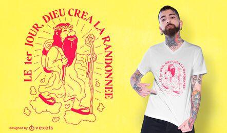 Hombre caminando diseño de camiseta de cita francesa