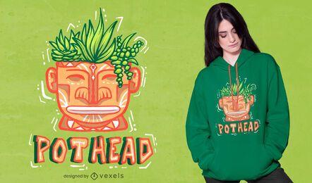 Cabeza con diseño de camiseta de plantas.