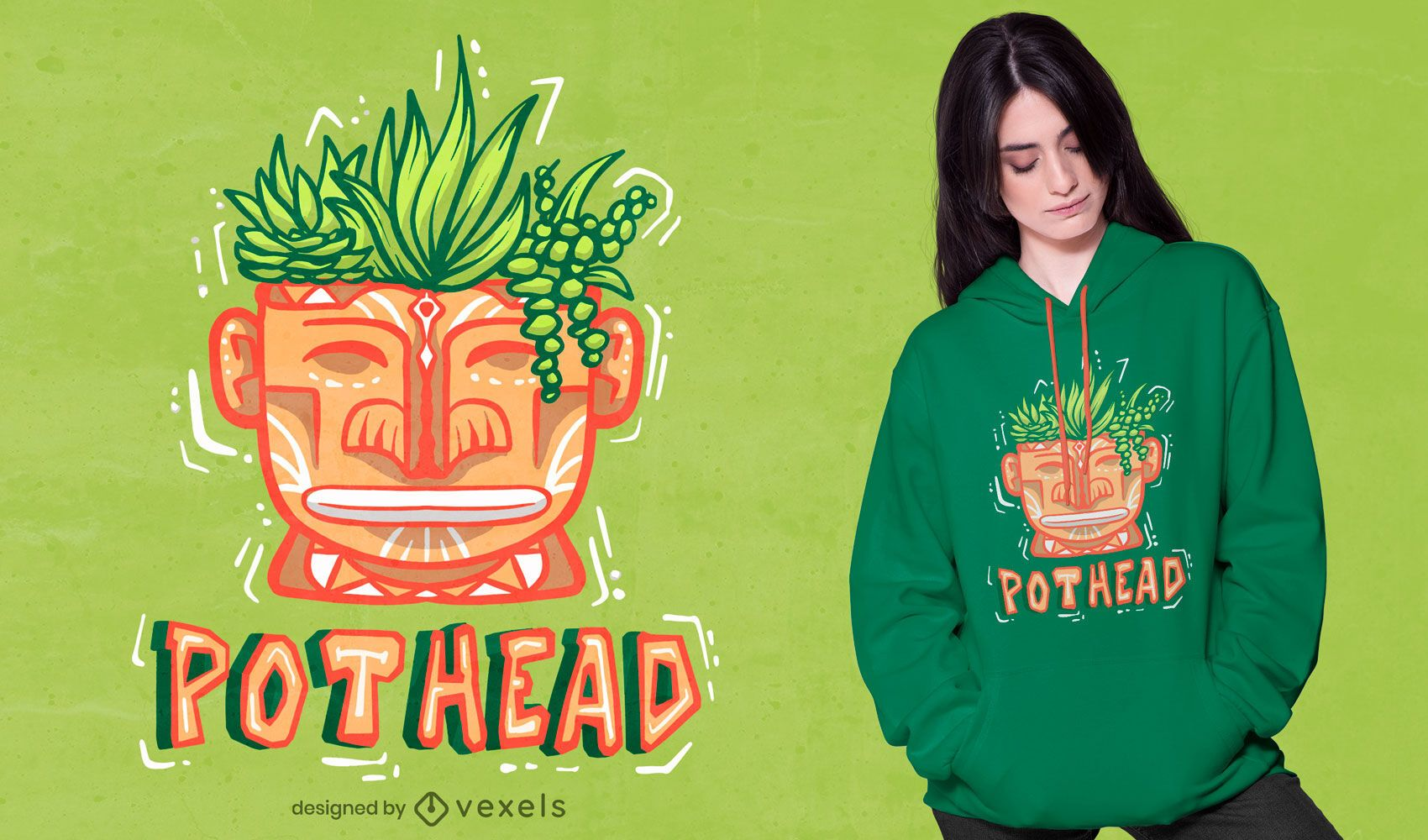 Head with plants t-shirt design
