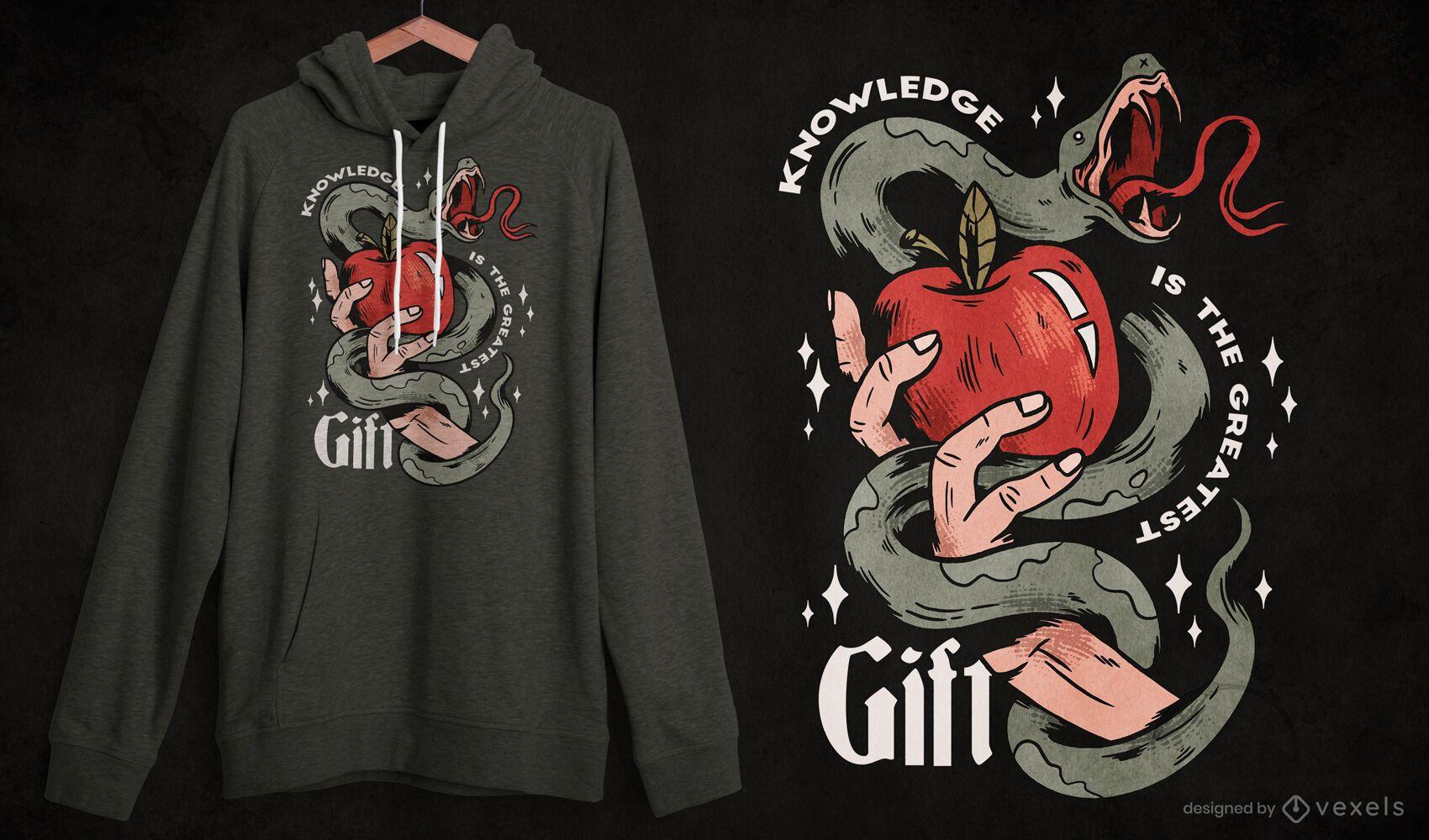 Diseño de camiseta de manzana y serpiente de mano.