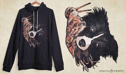 Perro con diseño de camiseta de pájaro becada