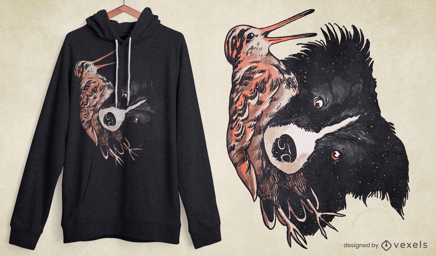 Dog with woodcock bird t-shirt design