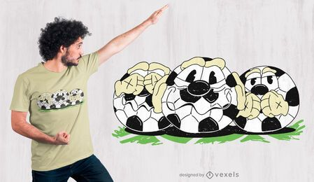 Diseño de camiseta de dibujos animados de pelotas de fútbol.