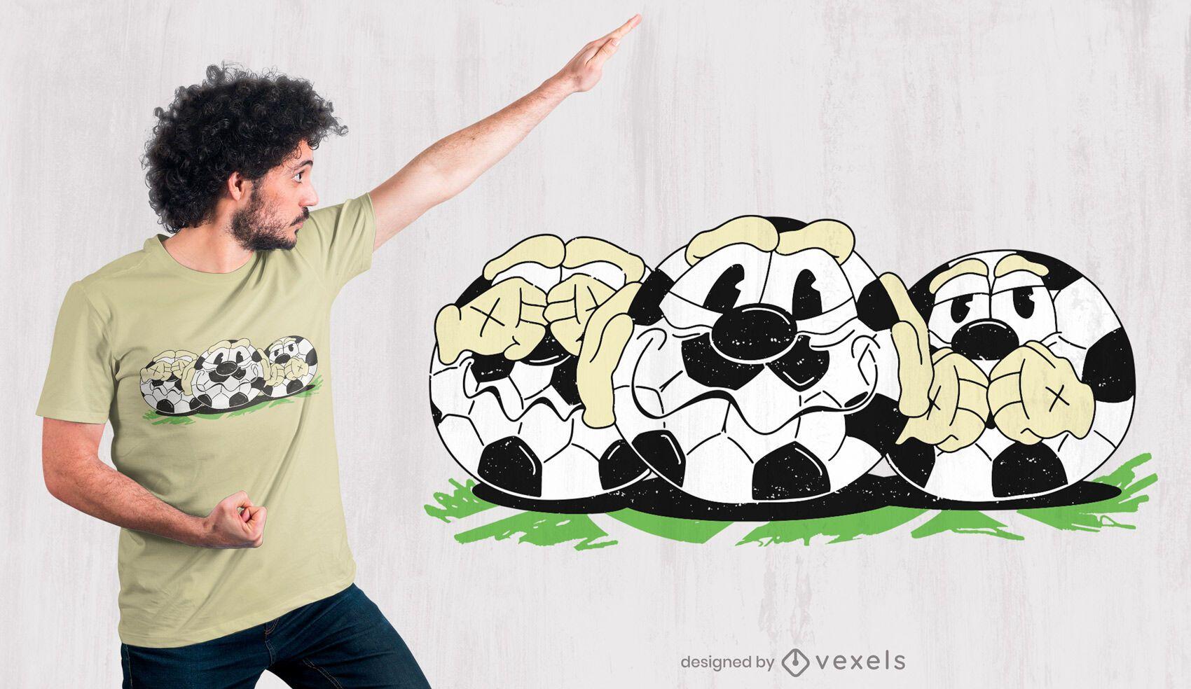 Football balls cartoon t-shirt design