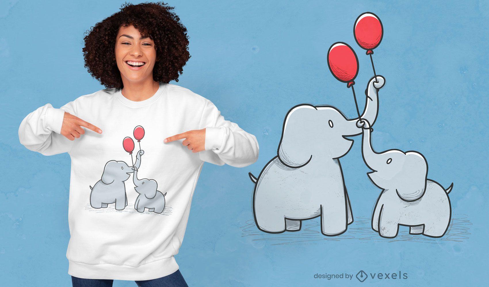 Design de t-shirt de família feliz de elefante