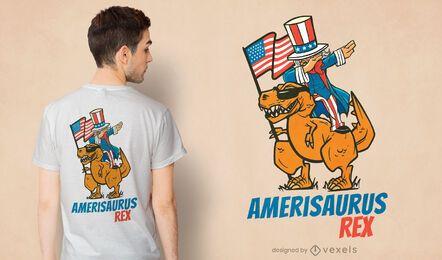 Diseño de camiseta t-rex de tío sam montando