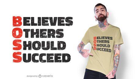 Design de camisetas motivacionais com as iniciais do chefe