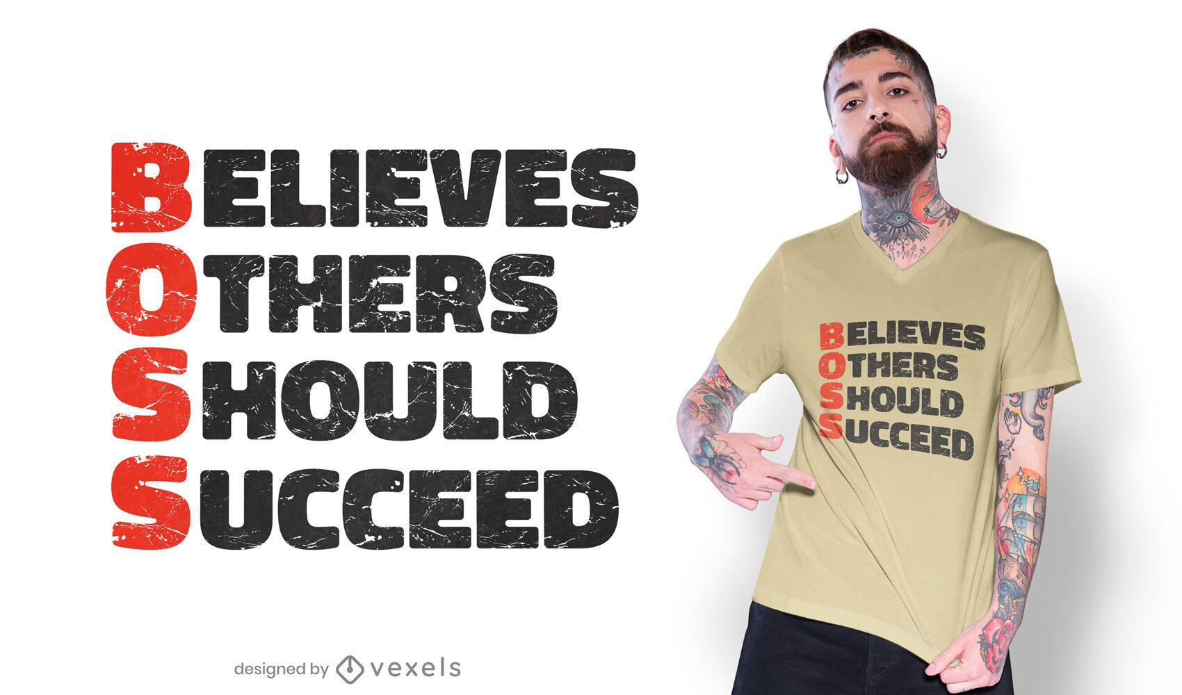 Diseño de camiseta motivacional de iniciales de jefe.