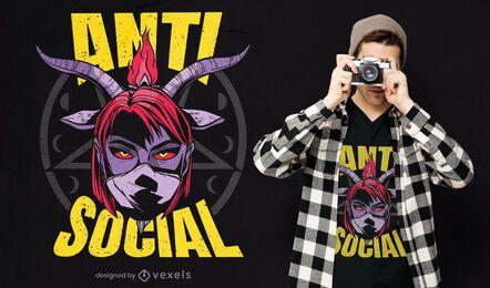 Design de camiseta feminina demoníaca anti-social