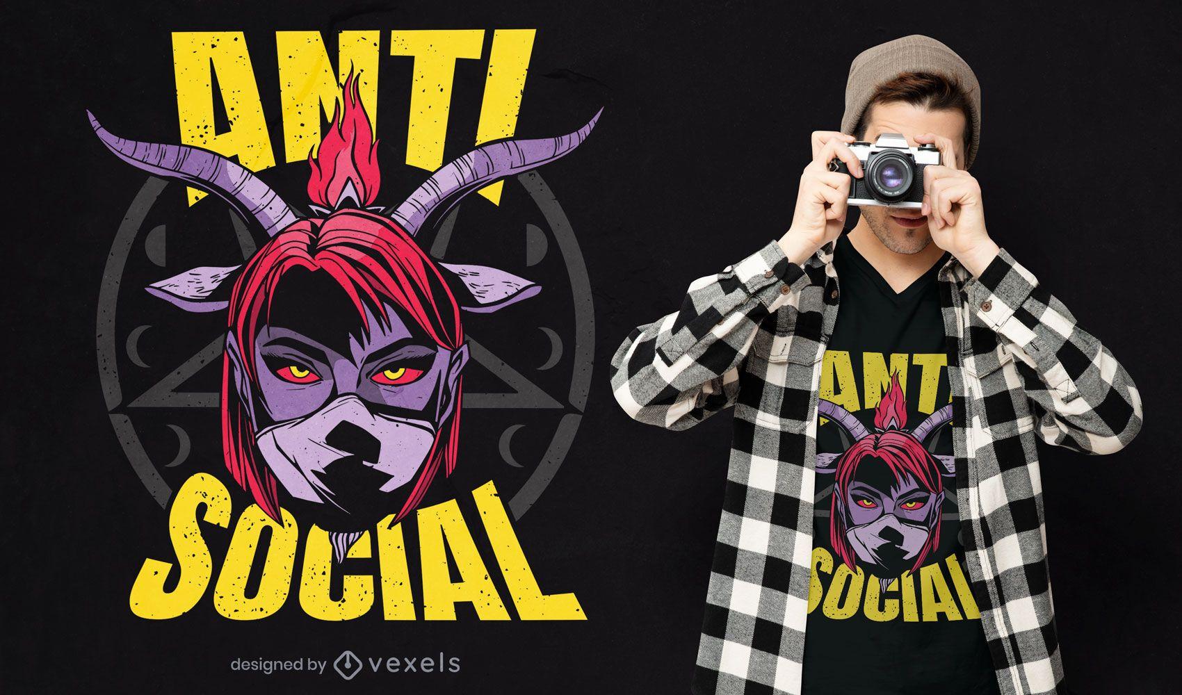 Diseño de camiseta de niña demoníaca anti social.
