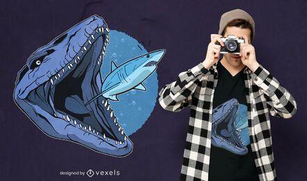 Diseño de camiseta Mosasaurus comiendo tiburón.