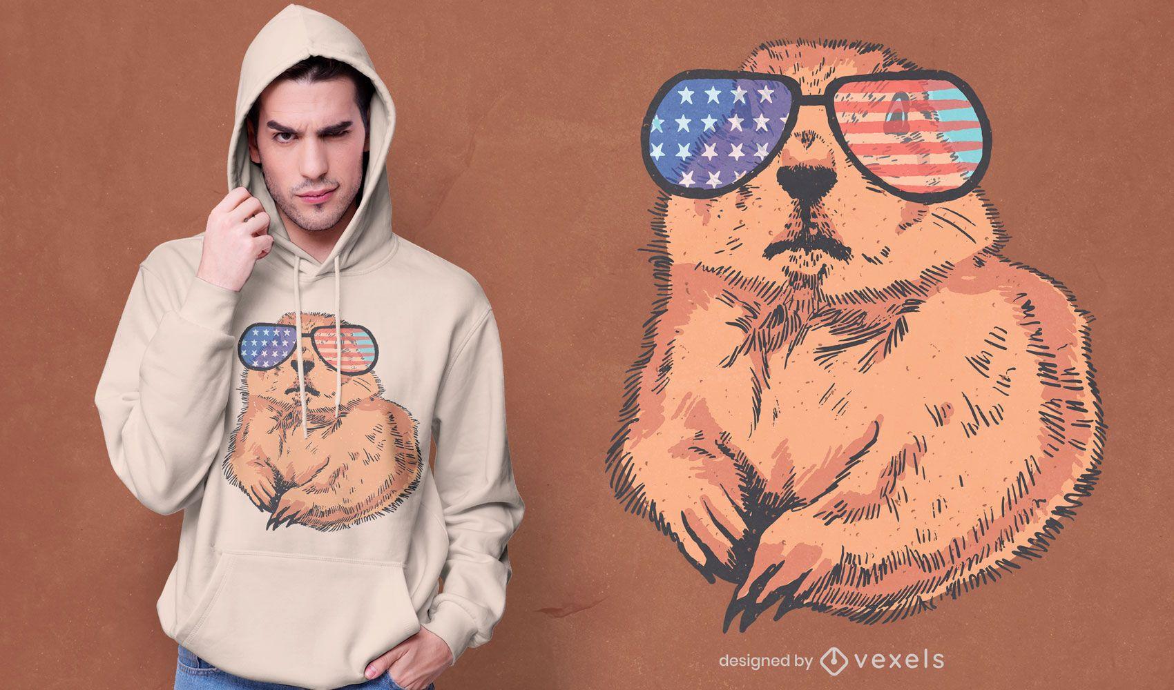 Diseño de camiseta patriótica del perro de las praderas.