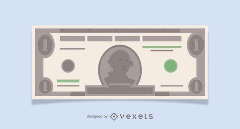 Ilustração de nota de um dólar americano