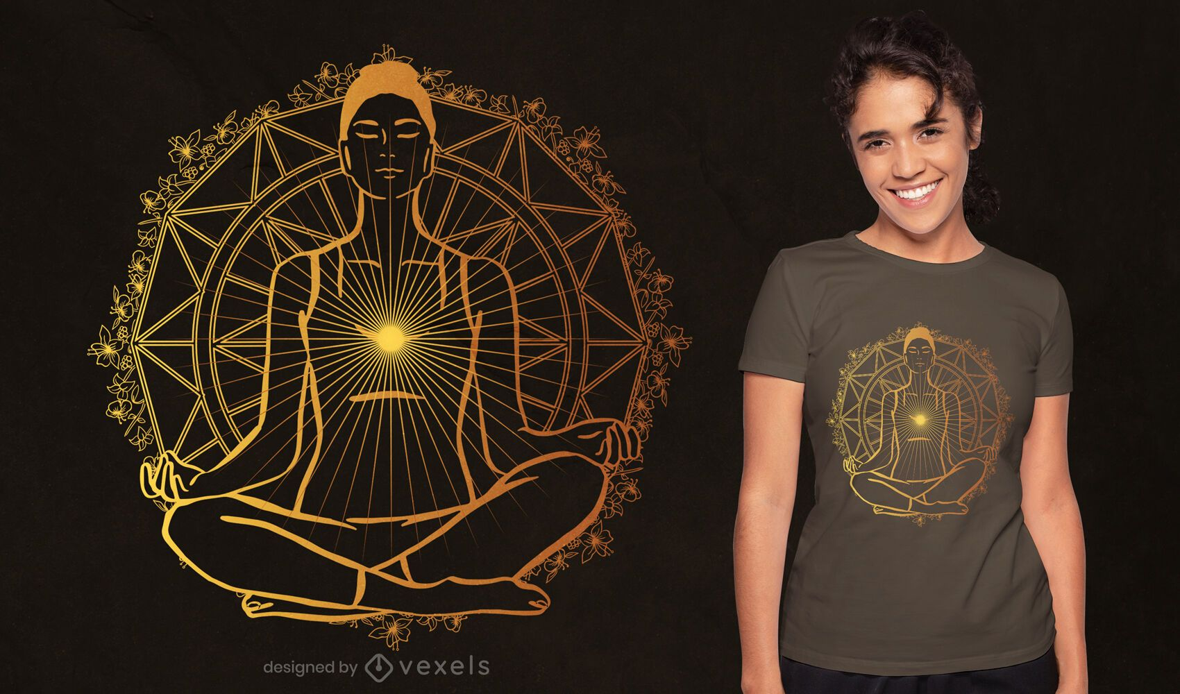 Design de camisetas espirituais iluminadas