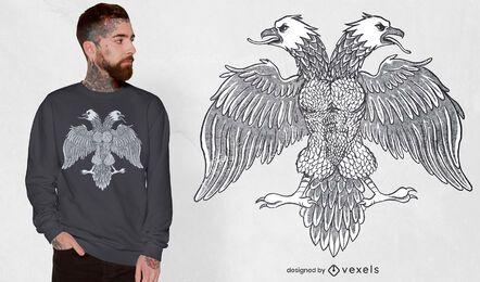 Design de t-shirt de águia símbolo da bandeira albanesa