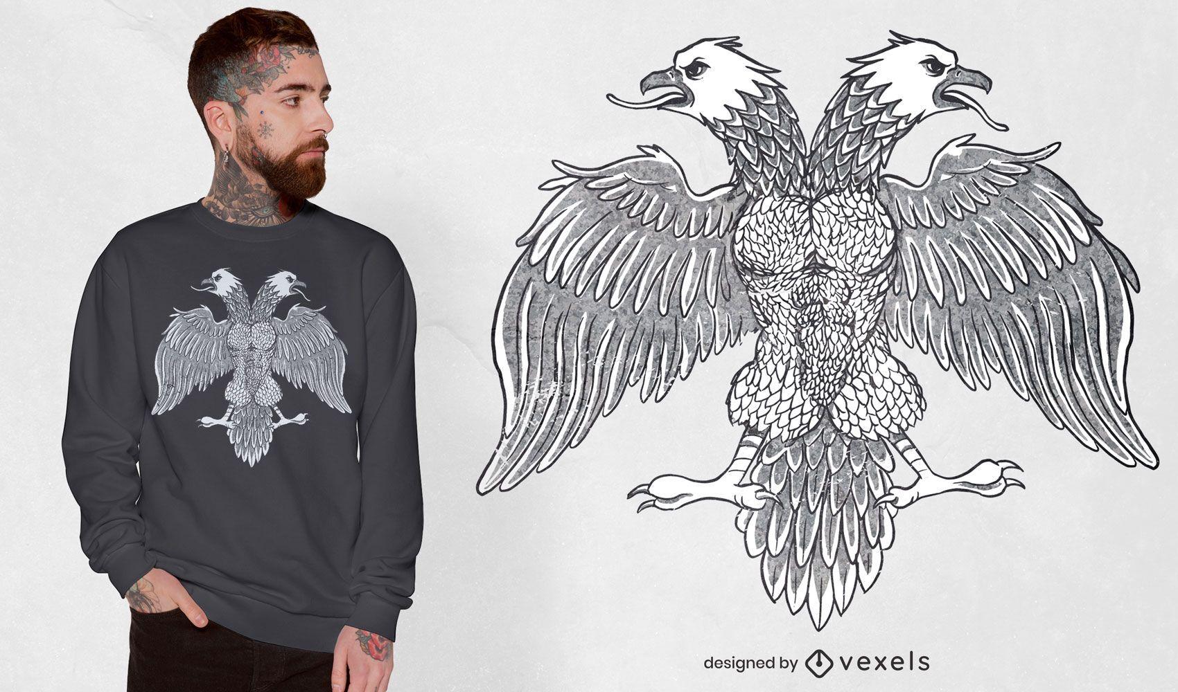 Diseño de camiseta de águila con símbolo de bandera albanesa