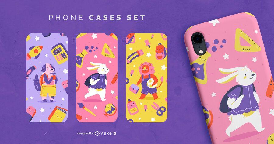 Volver a la escuela diseño de caja de teléfono animal lindo