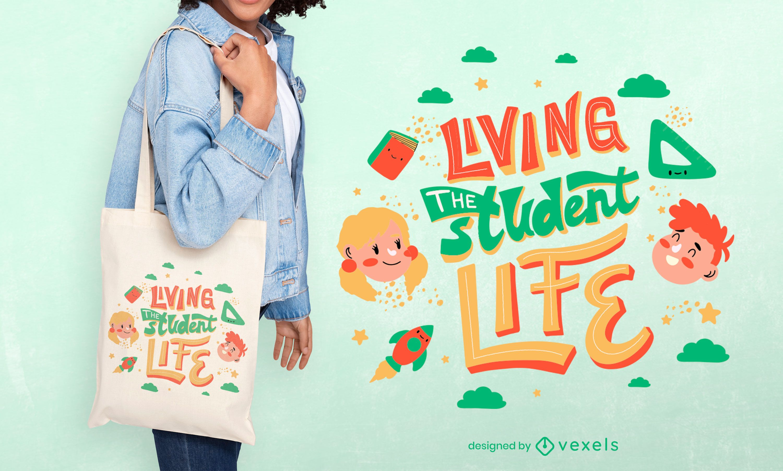 Back to school student tote bag design