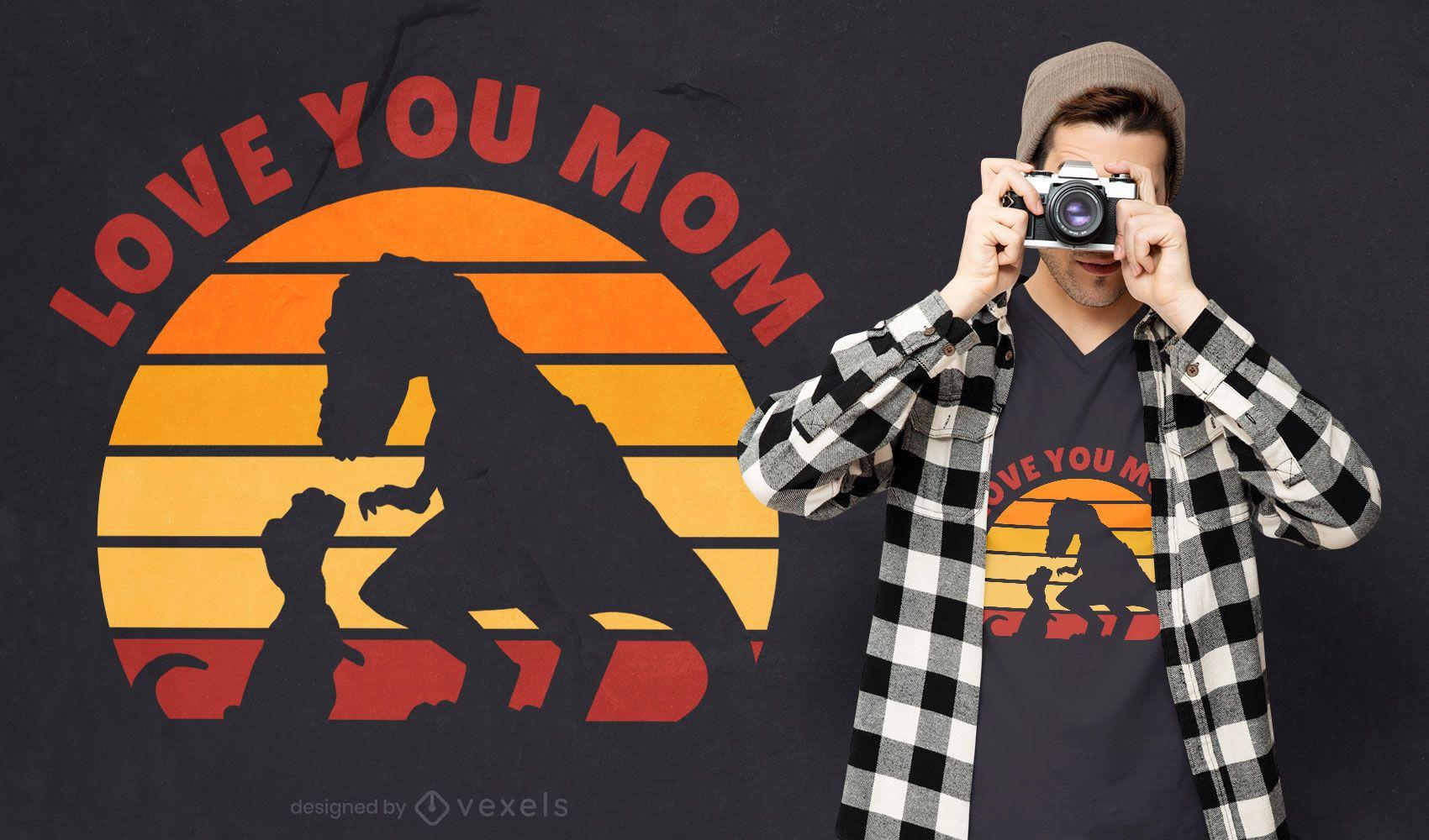 Mother's day dinosaur t-shirt design