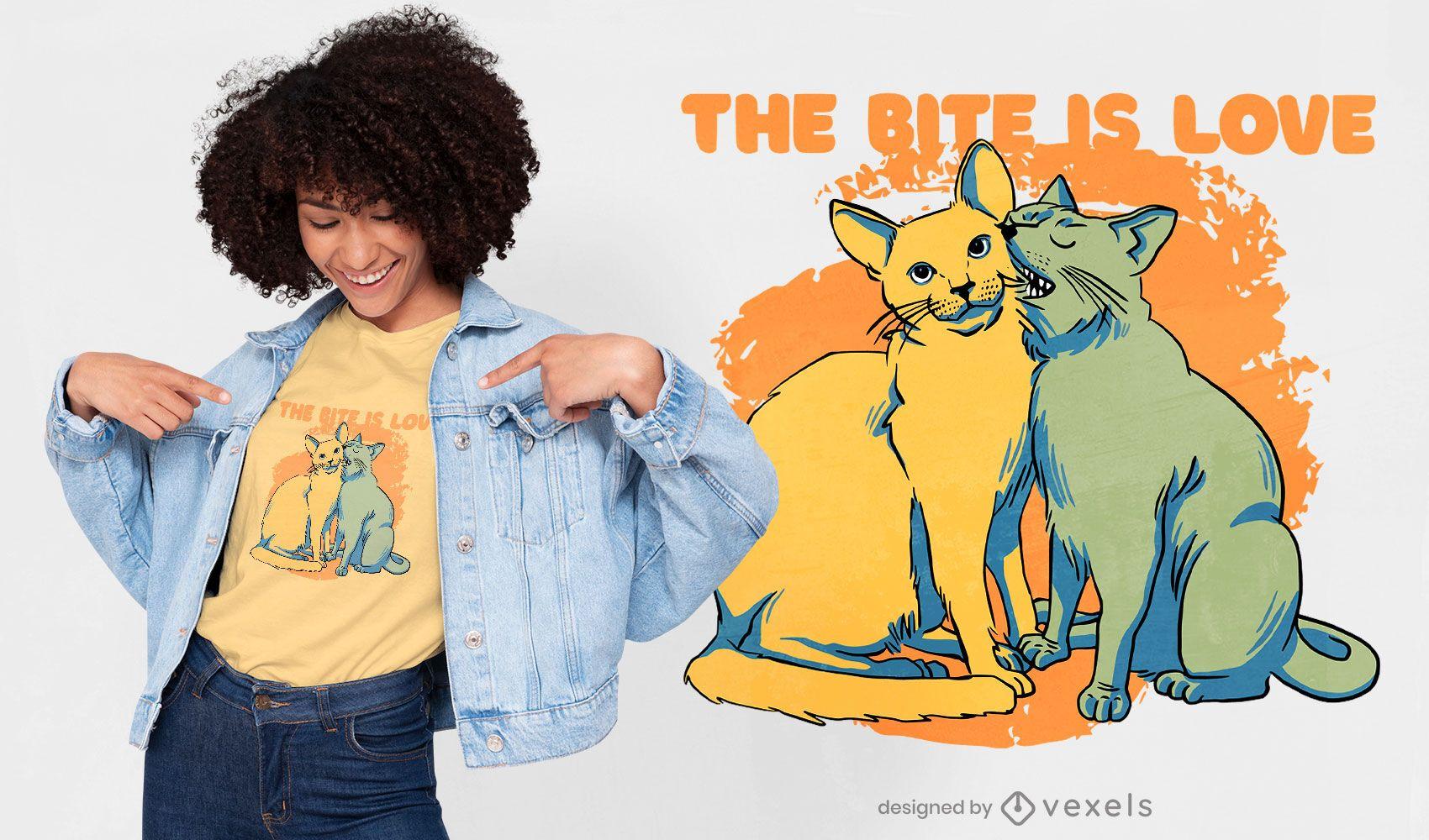 Diseño de camiseta de pareja de gatos besándose