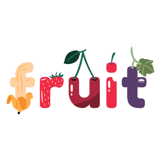 Various fruits lettering